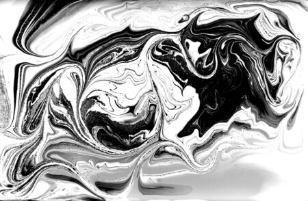 Black and white abstract background. Liquid marble pattern. Monochrome texture. Foto de archivo - 134240094