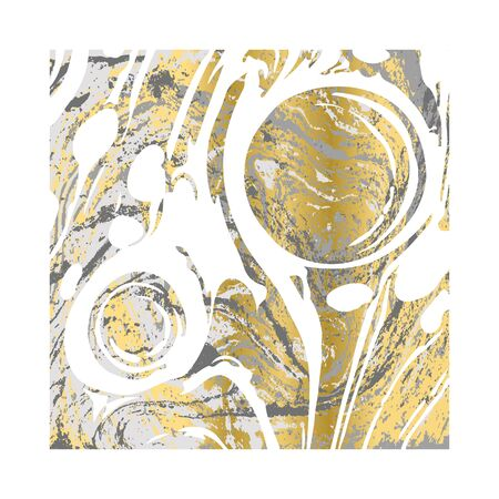 White and gold ebru texture. Abstract vector background
