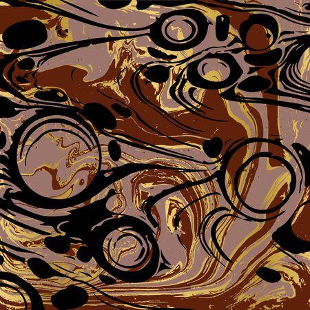 Black and gold ebru texture. Abstract vector background Ilustração