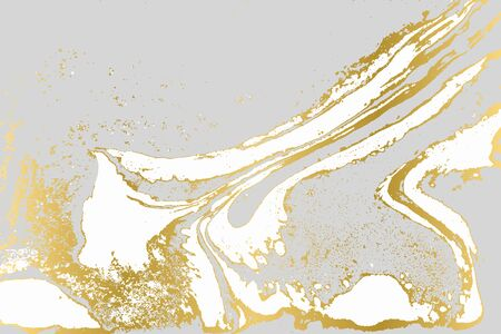 Gray and gold agate ripplle pattern. Simple marble monochrome background. Minimalism Ilustração