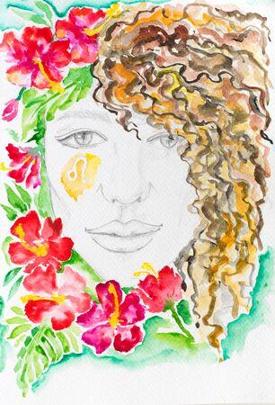 Watercolor woman portrait with flowers. Leo zodiac sign. Imagens
