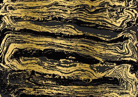 Minimalistic gold and black marble pattern. Agate ripple background. Ilustracja
