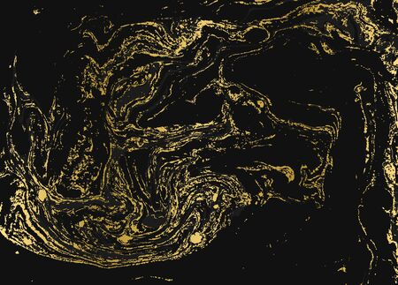 Minimalistic gold and black marble pattern. Agate ripple background