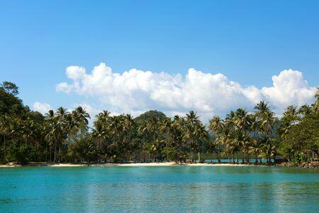 Tropical island sand beach on the sea.