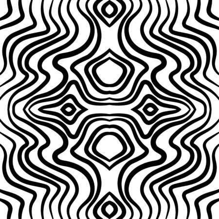 Abstract black and white wave seamless pattern.