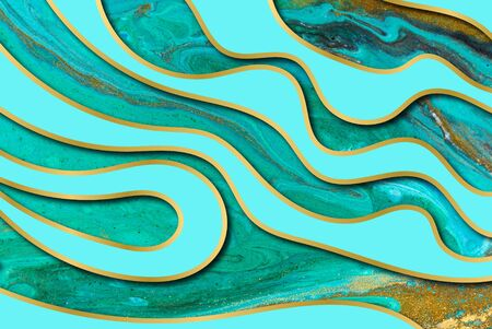 Blue and gold agate ripple pattern. Marble background with wave layers.