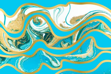 Blue and gold agate ripple pattern. Marble background with wave layers