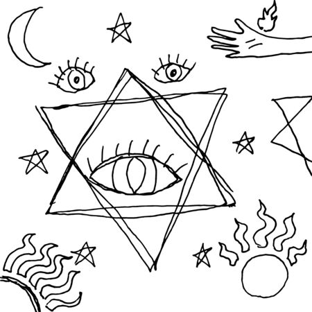 Hand drawn doodle esoteric pattern. Black and white sketch background. Mystic eye, stars, sun, moon and hand. Vector illustration. Ilustrace