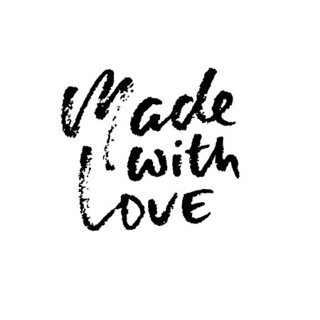 Made with love. Hand made lettering phrase for online store. Vector ink illustration. Modern dry brush calligraphy