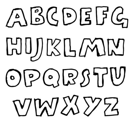 Handdrawn pen contours bold font. Modern grunge lettering. Vector illustration Vektorové ilustrace