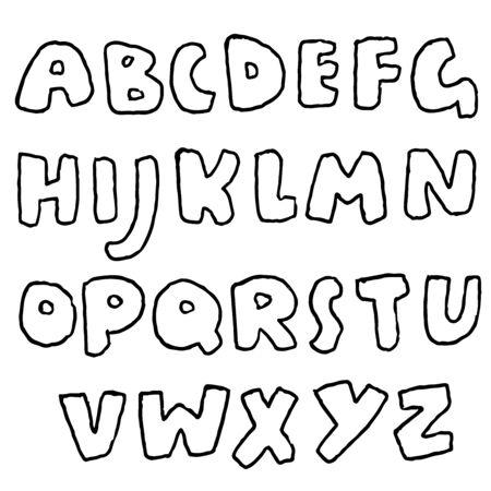 Handdrawn pen contours bold font. Modern grunge lettering. Vector illustration.