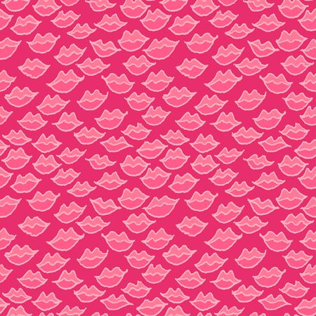 Seamless pink pattern with handdrawn pen lips