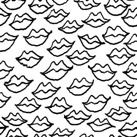 Seamless white and black pattern with handdrawn pen lips. Vettoriali