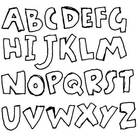 Handdrawn pen contours bold font. Modern grunge lettering. Vector illustration Vetores