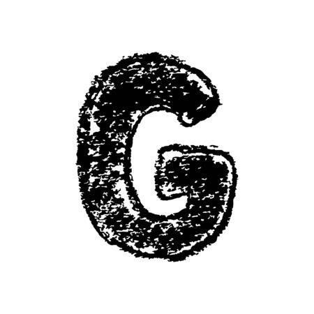 Letter G. Handwritten by chalk. Bold font. Vector illustration. Grunge style alphabet Vektoros illusztráció