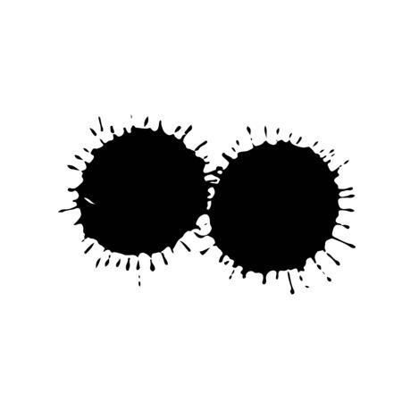 Black drop isolated on white background. Grunge splash texture. Vector illustration
