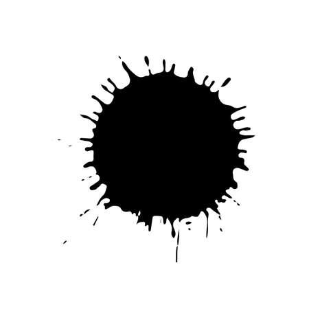 Black drop isolated on white background. Grunge splash texture. Vector illustration.