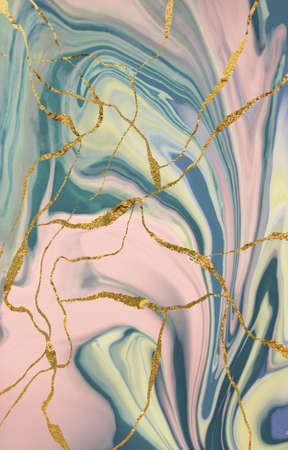 Marble pattern with gold cracks. Abstract background.
