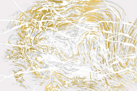 Gray and gold agate ripplle pattern. Light marble background.