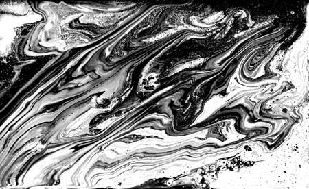 Black and white abstract background. Liquid marble pattern. Monochrome texture. Imagens