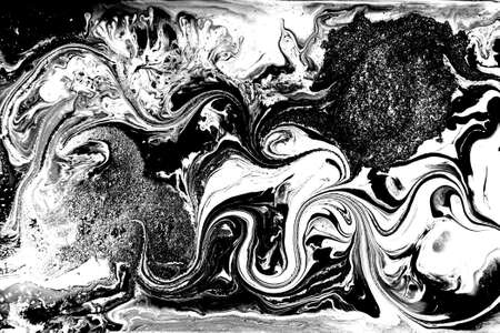 Black and white abstract background. Liquid marble pattern. Monochrome texture. Banco de Imagens