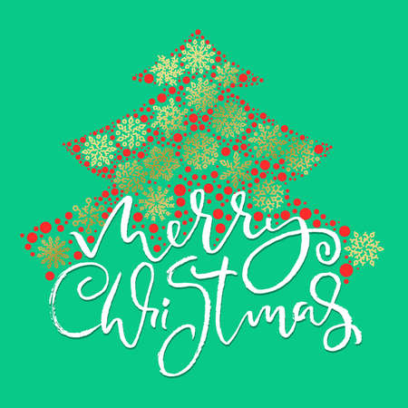 Hand drawn phrase Merry Christmas. Modern dry brush lettering design. Vector typography pink illustration.