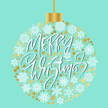 Hand drawn phrase Merry Christmas. Modern dry brush lettering design. Vector typography Christmas ball illustration. Ilustração