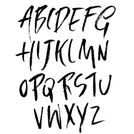 Hand drawn font made by dry brush strokes. Grunge style alphabet. Handwritten font. Vector illustration. Vektorgrafik
