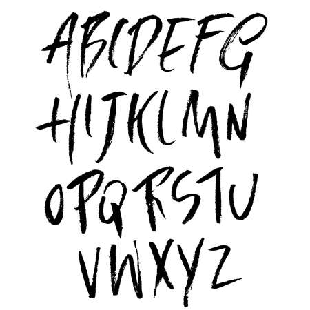 Hand drawn font made by dry brush strokes. Grunge style alphabet. Handwritten font. Vector illustration.