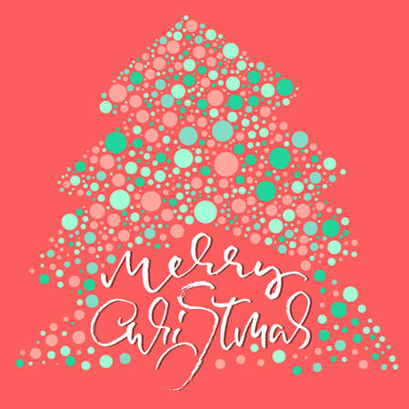 Hand drawn phrase Merry Christmas. Modern dry brush lettering design. Vector typography pink illustration.