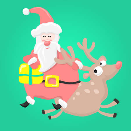 Cartoon fun Santa Claus with Christmas gift riding a deer. Holiday greeting card.