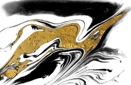 Black, gold and white marbling background. Unique artwork texture. Marble pattern imitation. Stock illustration. Imagens