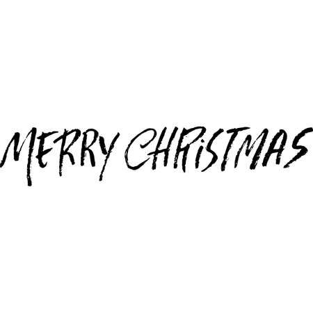 Hand drawn phrase Merry Christmas. Grunge lettering design. Vector typography vector illustration.