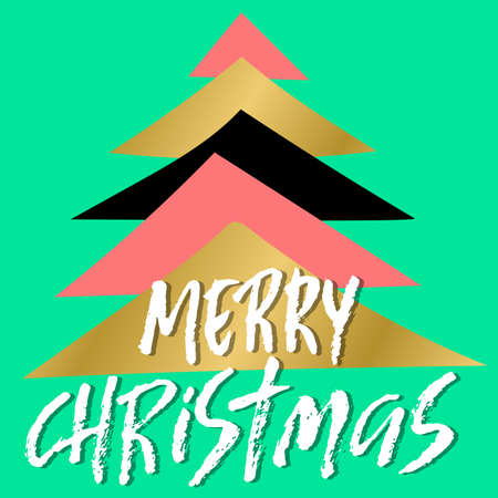 Hand drawn phrase Merry Christmas. Modern dry brush lettering design. Vector typography abstract illustration.