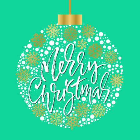 Hand drawn phrase Merry Christmas. Modern dry brush lettering design. Vector typography Christmas ball illustration. Ilustração