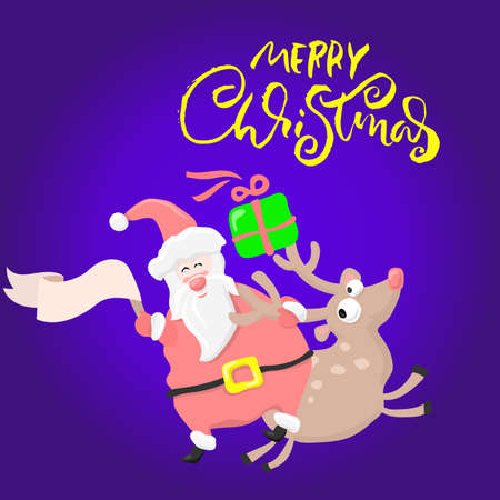 Merry Christmas dry brush lettering. Santa Claus riding a deer. Holiday greeting card. Ilustração