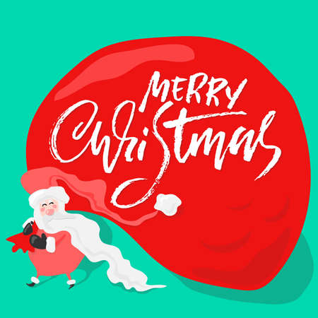 Vector Christmas calligraphy. Handwritten modern dry brush lettering. Typography poster with Santa Claus. Ilustração