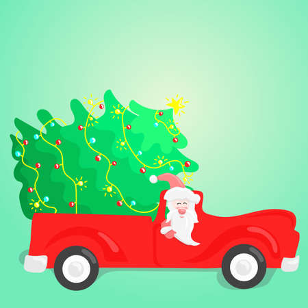 Santa Claus is carrying a Christmas tree by the red car. Vector illustration.