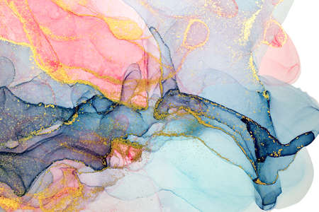 Alcohol ink abstract background. Watercolor style texture. Pink, blue and gold paint stains illustration.