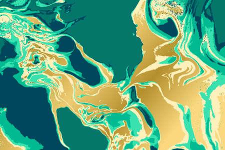 Green and gold marble pattern. Abstract background. Vector illustration. Illusztráció