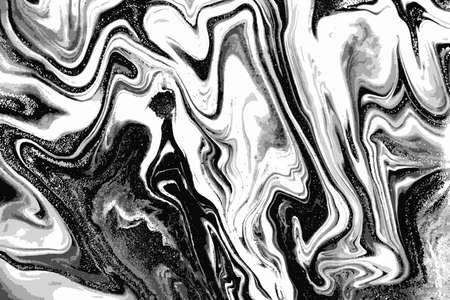 Black and white marble pattern. Abstract background. Vector illustration.