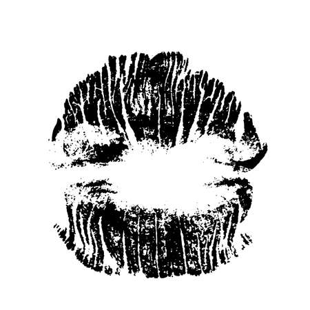 Lips track print. Stamp of mouth isolated on white background. Vector illustration. Stock fotó - 155738534