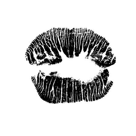 Lips track print. Stamp of mouth isolated on white background. Vector illustration. Illusztráció