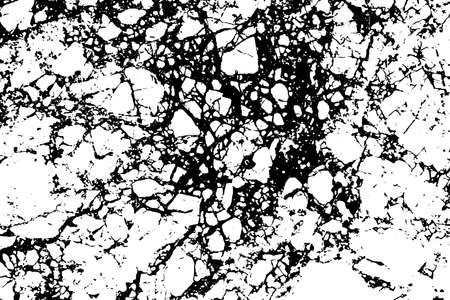 Black and white marble cracks simple texture. Vector illustration.