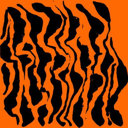 Vector illustration tiger print pattern. Orange and black hand drawn background.
