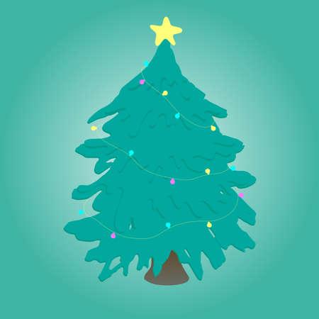 Christmas tree with lights. Vector illustration. Çizim