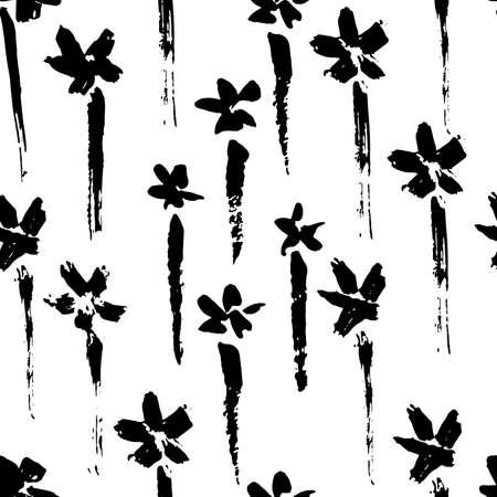 Ink vector brush stroke flowers seamless pattern. Vector illustration. Grunge texture.