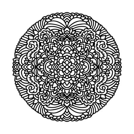 Abstract mandala ornament. Asian pattern. Black and white authentic background. Vector illustration. Ilustración de vector