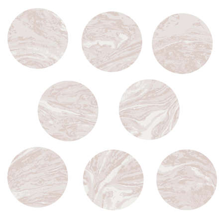 Round beige marble pattern texture set. Vector pale illustration. 일러스트