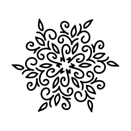 Abstract mandala ornament. Snowflake pattern. Black and white authentic background. Vector illustration.